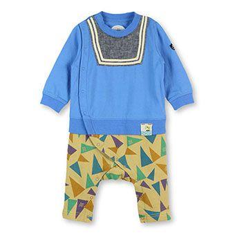 セーラー襟×ペナント柄長袖カバーオール
