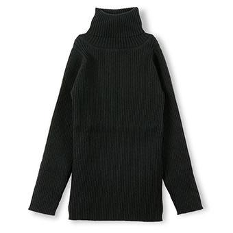 リブニットタートルネックTシャツ