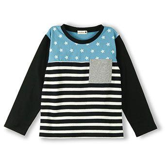 星×ボーダー切り替え長袖Tシャツ