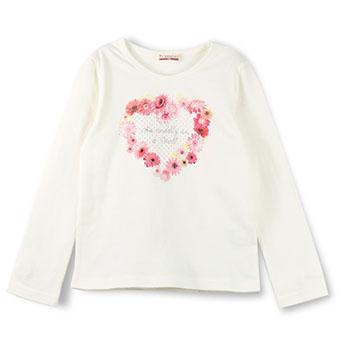 花柄ハートプリント長袖Tシャツ