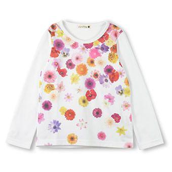 花柄プリント長袖Tシャツ