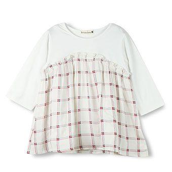 チェック柄重ね着風7分袖Tシャツ