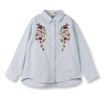 刺繍入りストライプ長袖シャツ