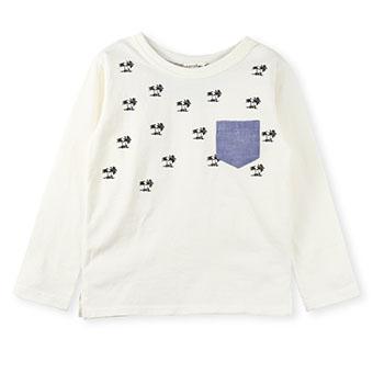 ヤシの木プリント長袖Tシャツ