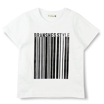 バーコード風プリント半袖Tシャツ